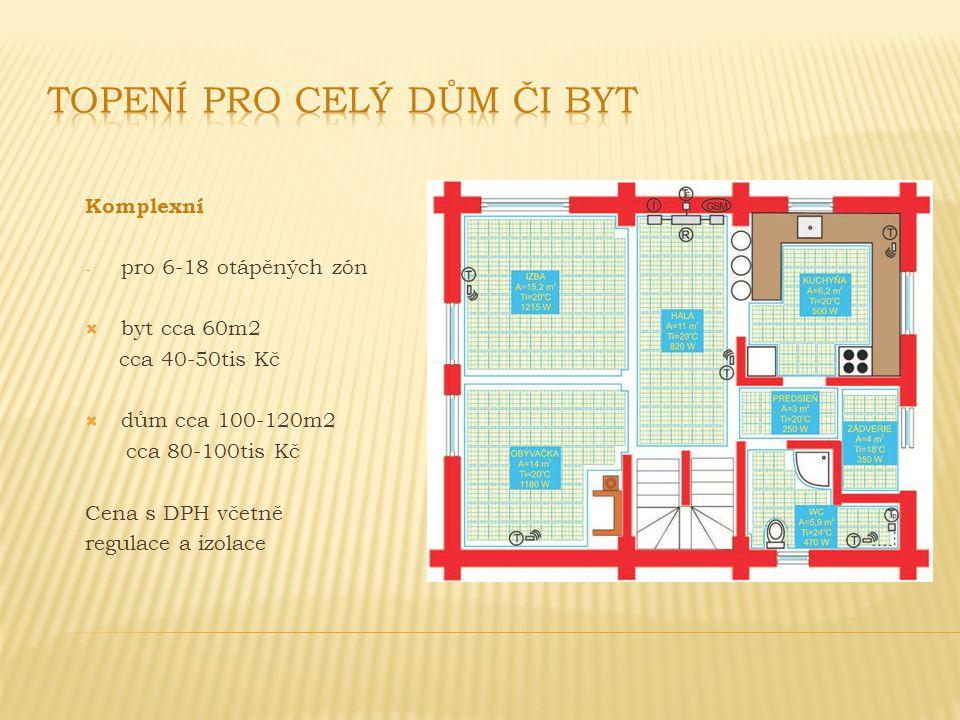 Komplexní - pro 6-18 otápěných zón  byt cca 60m2 cca 40-50tis Kč  dům cca 100-120m2 cca 80-100tis Kč Cena s DPH včetně regulace a izolace