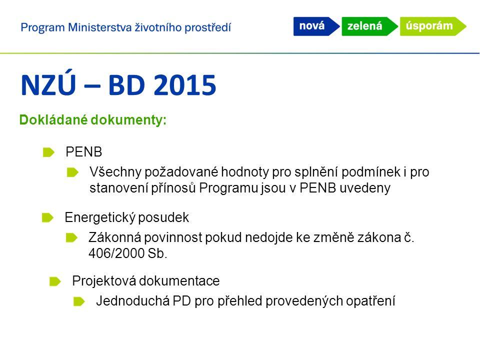 NZÚ – BD 2015 Dokládané dokumenty: PENB Všechny požadované hodnoty pro splnění podmínek i pro stanovení přínosů Programu jsou v PENB uvedeny Energetic