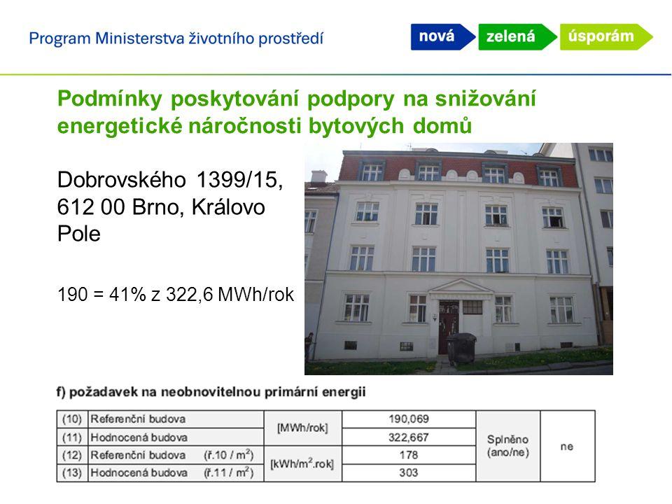 Podmínky poskytování podpory na snižování energetické náročnosti bytových domů Dobrovského 1399/15, 612 00 Brno, Královo Pole 190 = 41% z 322,6 MWh/ro