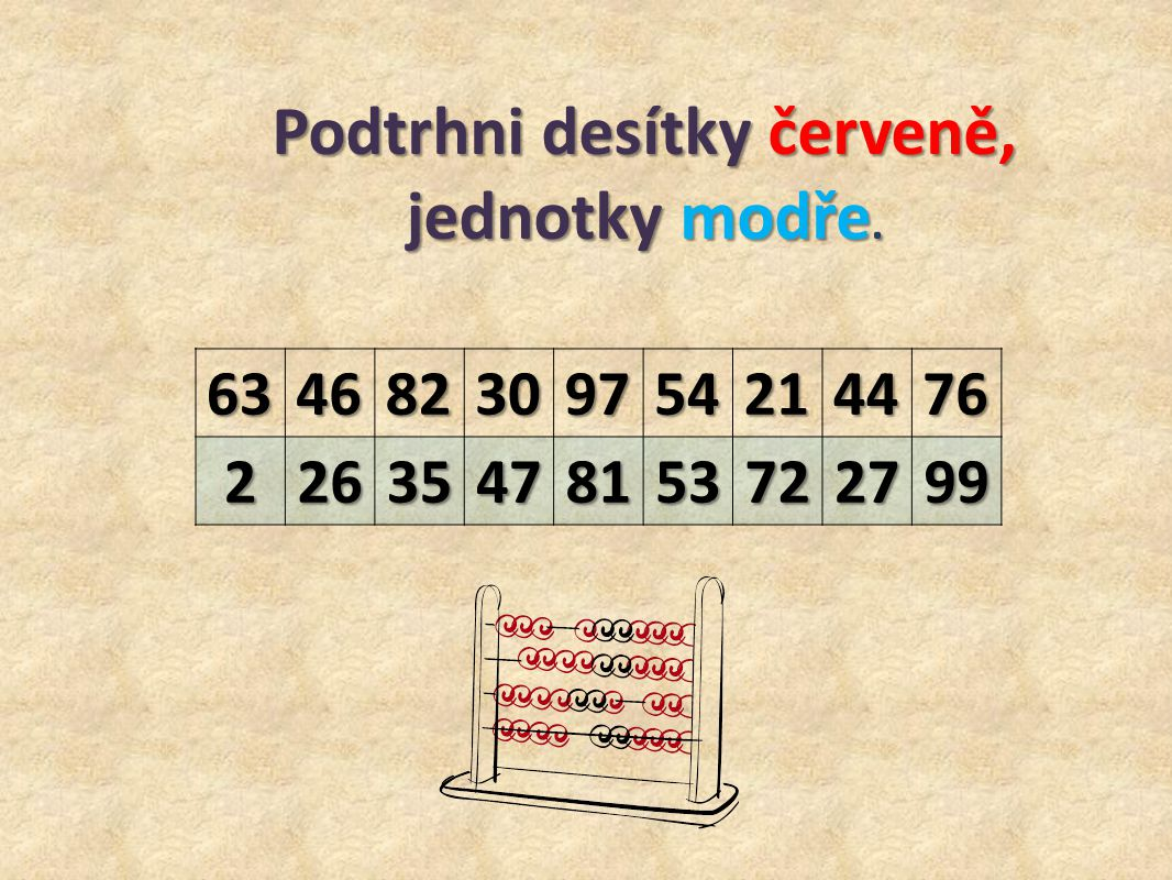 634682309754214476 22635478153722799 Podtrhni desítky červeně, jednotky modře.