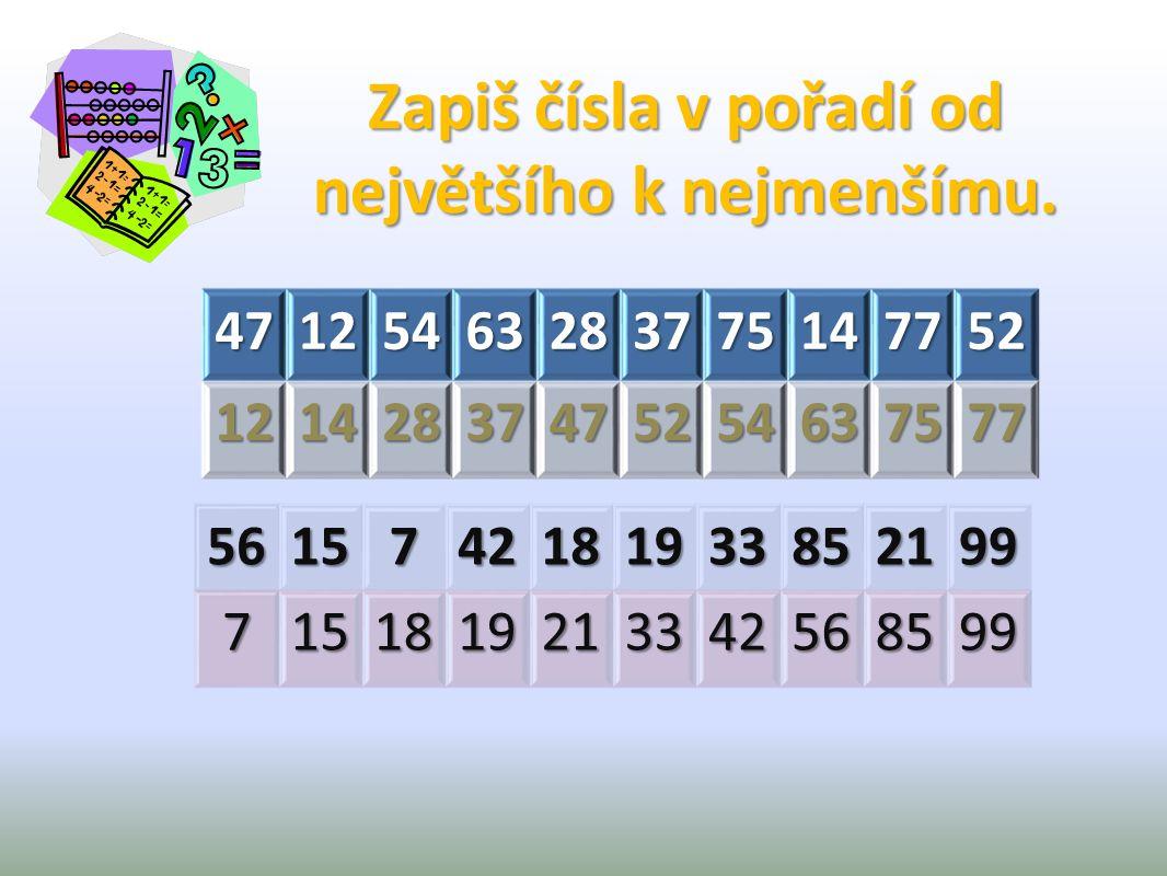 47125463283775147752 12142837475254637577 56157421819338521997151819213342568599 Zapiš čísla v pořadí od největšího k nejmenšímu.
