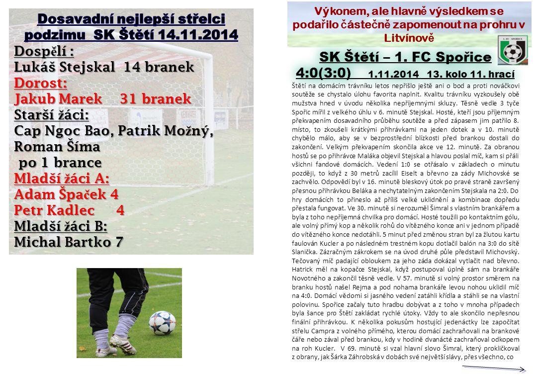 Výkonem, ale hlavn ě výsledkem se poda ř ilo č áste č n ě zapomenout na prohru v Litvínov ě SK Štětí – 1.
