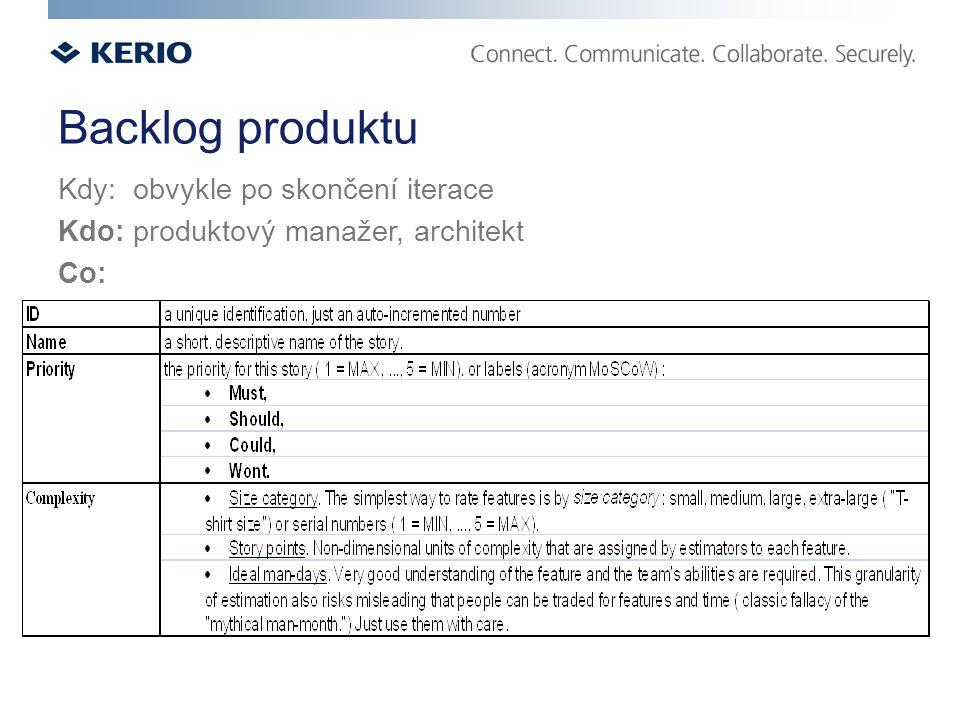 Backlog produktu Kdy: obvykle po skončení iterace Kdo: produktový manažer, architekt Co: