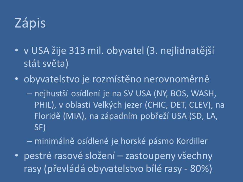 Zápis v USA žije 313 mil. obyvatel (3. nejlidnatější stát světa) obyvatelstvo je rozmístěno nerovnoměrně – nejhustší osídlení je na SV USA (NY, BOS, W