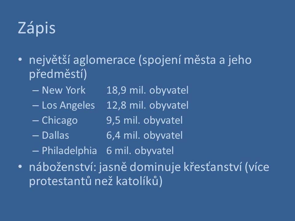 Zápis největší aglomerace (spojení města a jeho předměstí) – New York18,9 mil. obyvatel – Los Angeles12,8 mil. obyvatel – Chicago9,5 mil. obyvatel – D