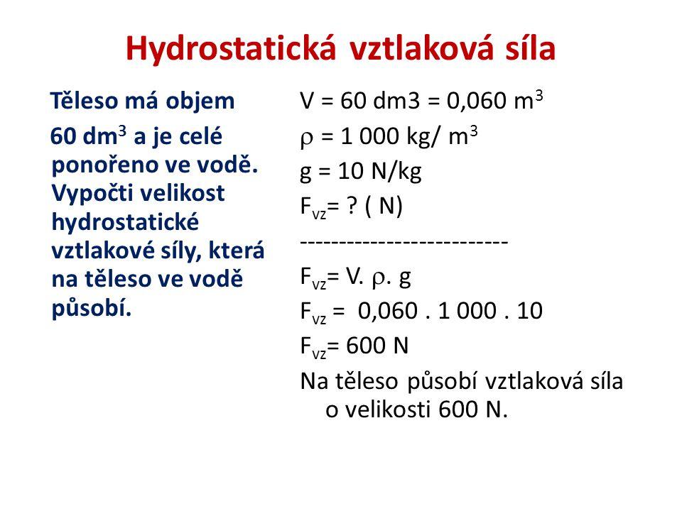 Hydrostatická vztlaková síla Těleso má objem 60 dm 3 a je celé ponořeno ve vodě.