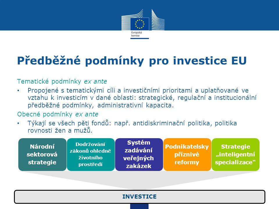 Předběžné podmínky pro investice EU Tematické podmínky ex ante Propojené s tematickými cíli a investičními prioritami a uplatňované ve vztahu k investicím v dané oblasti: strategické, regulační a institucionální předběžné podmínky, administrativní kapacita.