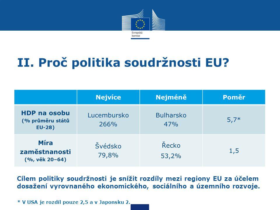 II.Proč politika soudržnosti EU.