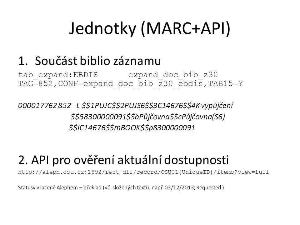 Jednotky (MARC+API) 1.Součást biblio záznamu tab_expand:EBDIS expand_doc_bib_z30 TAG=852,CONF=expand_doc_bib_z30_ebdis,TAB15=Y 000017762 852 L $$1PUJC$$2PUJS6$$3C14676$$4K vypůjčení $$58300000091$$bPůjčovna$$cPůjčovna(S6) $$iC14676$$mBOOK$$p8300000091 2.