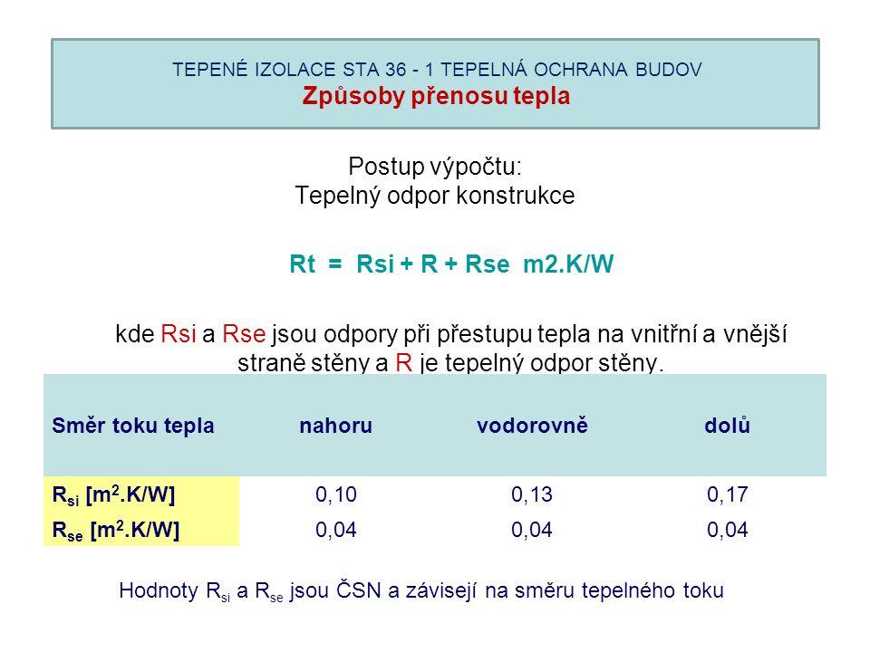 TEPENÉ IZOLACE STA 36 - 1 TEPELNÁ OCHRANA BUDOV Způsoby přenosu tepla Postup výpočtu: Tepelný odpor konstrukce Rt = Rsi + R + Rse m2.K/W kde Rsi a Rse