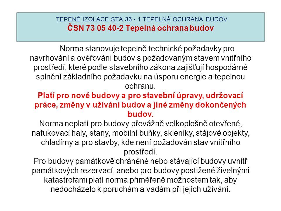 TEPENÉ IZOLACE STA 36 - 1 TEPELNÁ OCHRANA BUDOV ČSN 73 05 40-2 Tepelná ochrana budov Norma stanovuje tepelně technické požadavky pro navrhování a ověř