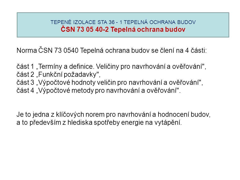 """Norma ČSN 73 0540 Tepelná ochrana budov se člení na 4 části: část 1 """"Termíny a definice. Veličiny pro navrhování a ověřování"""