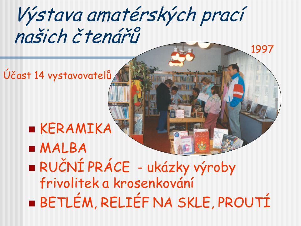 Výstava amatérských prací našich čtenářů KERAMIKA MALBA RUČNÍ PRÁCE - ukázky výroby frivolitek a krosenkování BETLÉM, RELIÉF NA SKLE, PROUTÍ 1997 Účas