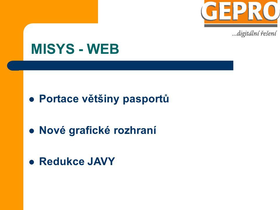 MISYS - WEB Portace většiny pasportů Nové grafické rozhraní Redukce JAVY