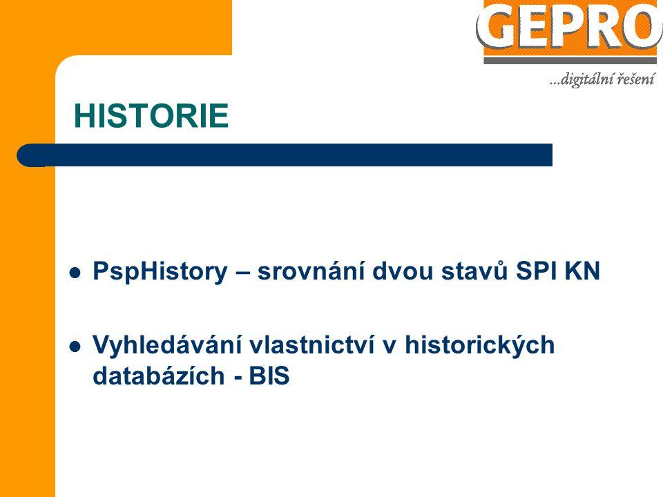 HISTORIE PspHistory – srovnání dvou stavů SPI KN Vyhledávání vlastnictví v historických databázích - BIS