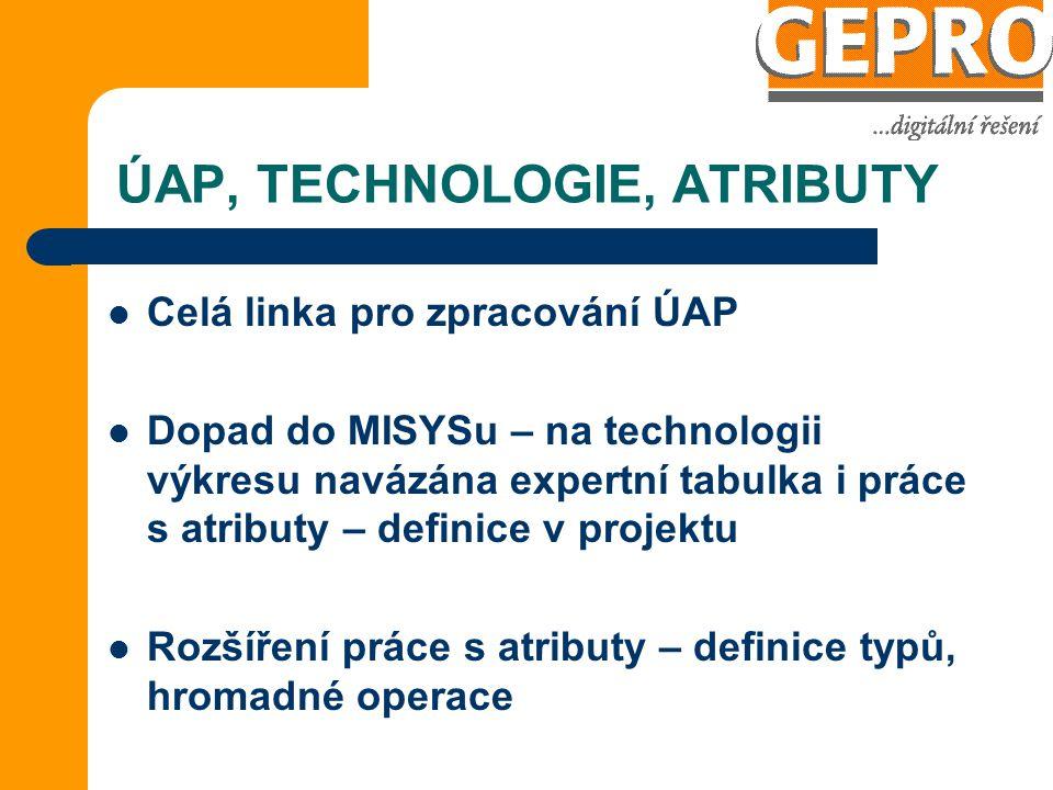 ÚAP, TECHNOLOGIE, ATRIBUTY Celá linka pro zpracování ÚAP Dopad do MISYSu – na technologii výkresu navázána expertní tabulka i práce s atributy – definice v projektu Rozšíření práce s atributy – definice typů, hromadné operace