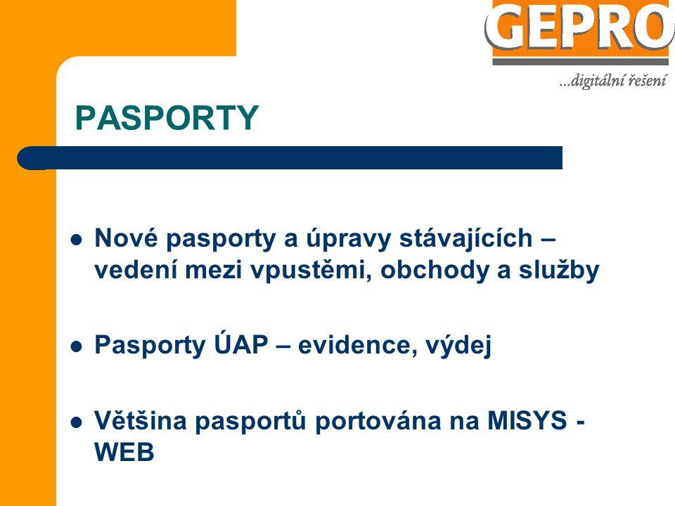 PASPORTY Nové pasporty a úpravy stávajících – vedení mezi vpustěmi, obchody a služby Pasporty ÚAP – evidence, výdej Většina pasportů portována na MISYS - WEB