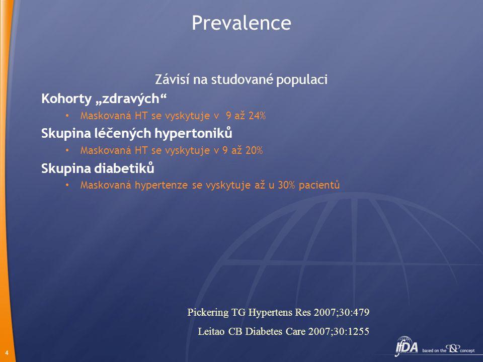 """4 Prevalence Závisí na studované populaci Kohorty """"zdravých Maskovaná HT se vyskytuje v 9 až 24% Skupina léčených hypertoniků Maskovaná HT se vyskytuje v 9 až 20% Skupina diabetiků Maskovaná hypertenze se vyskytuje až u 30% pacientů Pickering TG Hypertens Res 2007;30:479 Leitao CB Diabetes Care 2007;30:1255"""