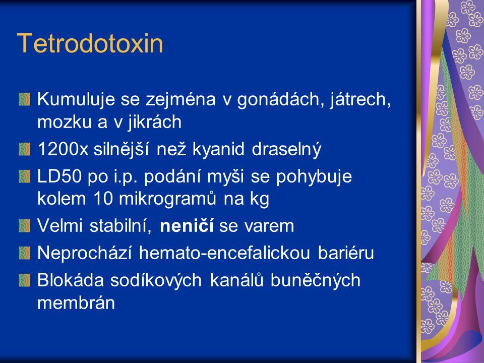 Tetrodotoxin - otrava Nervově paralytický a kardiotoxický typ otravy Ochromení svalů, závratě, vyčerpání, bolest hlavy, nauzea, dýchací obtíže 5-30 min po požití Následuje celkové ochrnutí, včetně dýchacích svalů Plné vědomí!!.