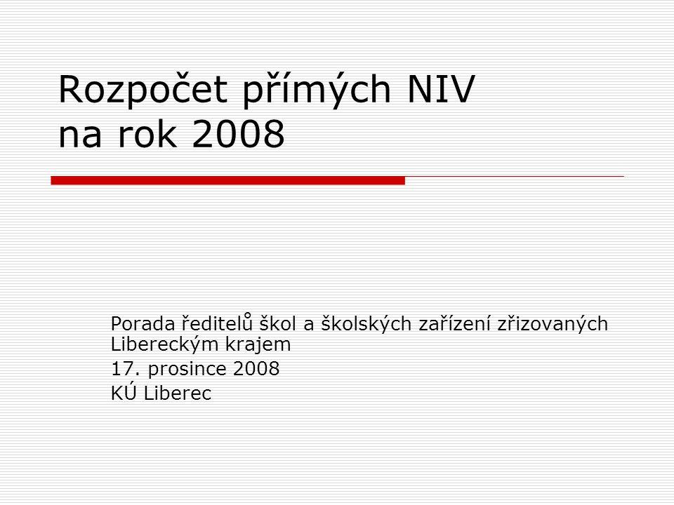 Rozpočet přímých NIV na rok 2008 Porada ředitelů škol a školských zařízení zřizovaných Libereckým krajem 17.
