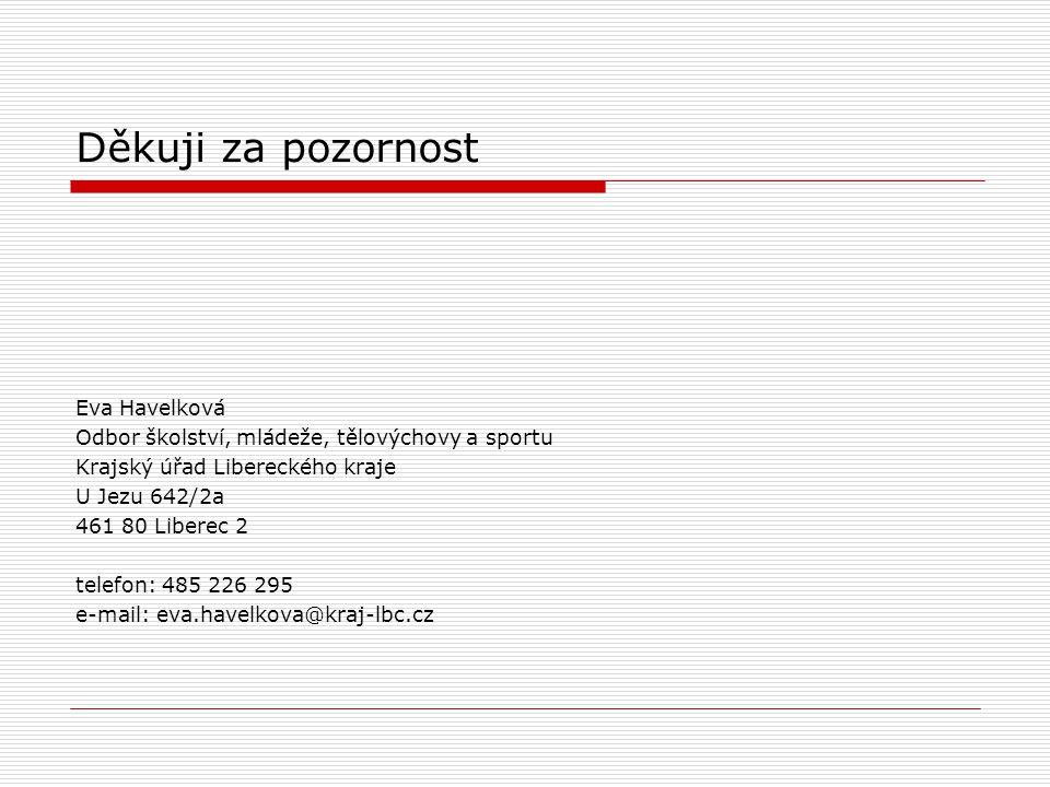 Děkuji za pozornost Eva Havelková Odbor školství, mládeže, tělovýchovy a sportu Krajský úřad Libereckého kraje U Jezu 642/2a 461 80 Liberec 2 telefon: 485 226 295 e-mail: eva.havelkova@kraj-lbc.cz