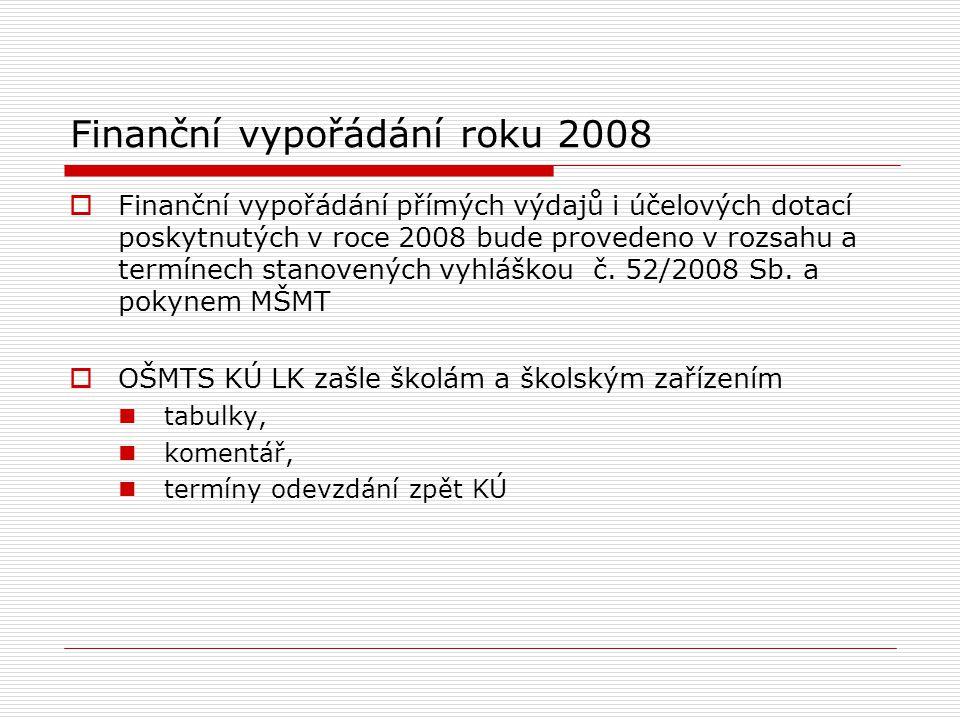 Finanční vypořádání roku 2008  Finanční vypořádání přímých výdajů i účelových dotací poskytnutých v roce 2008 bude provedeno v rozsahu a termínech stanovených vyhláškou č.