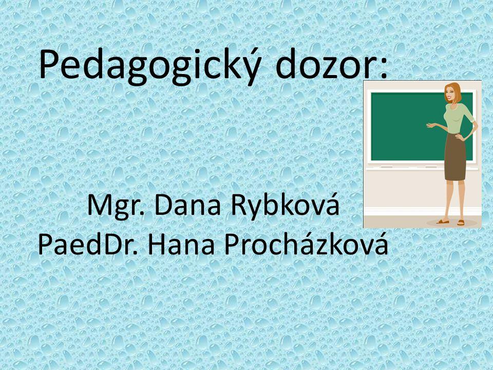 Pedagogický dozor: Mgr. Dana Rybková PaedDr. Hana Procházková