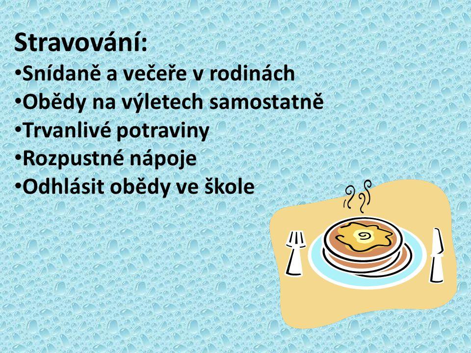 Stravování: Snídaně a večeře v rodinách Obědy na výletech samostatně Trvanlivé potraviny Rozpustné nápoje Odhlásit obědy ve škole