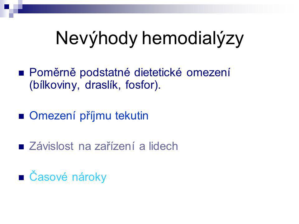 Nevýhody hemodialýzy Poměrně podstatné dietetické omezení (bílkoviny, draslík, fosfor). Omezení příjmu tekutin Závislost na zařízení a lidech Časové n