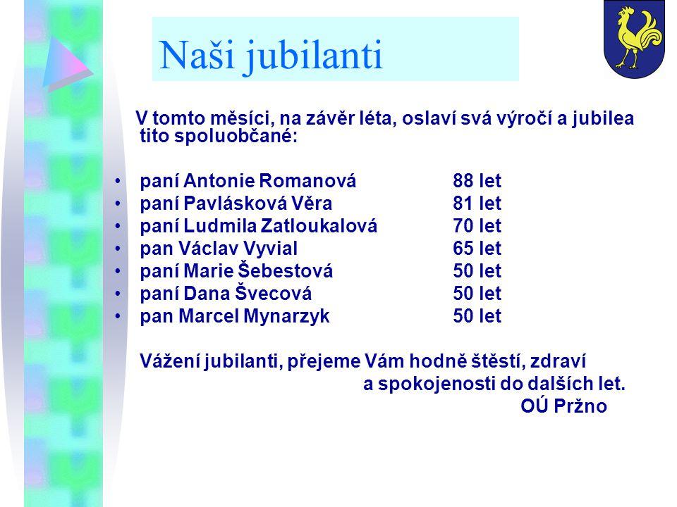 Naši jubilanti V tomto měsíci, na závěr léta, oslaví svá výročí a jubilea tito spoluobčané: paní Antonie Romanová88 let paní Pavlásková Věra81 let pan
