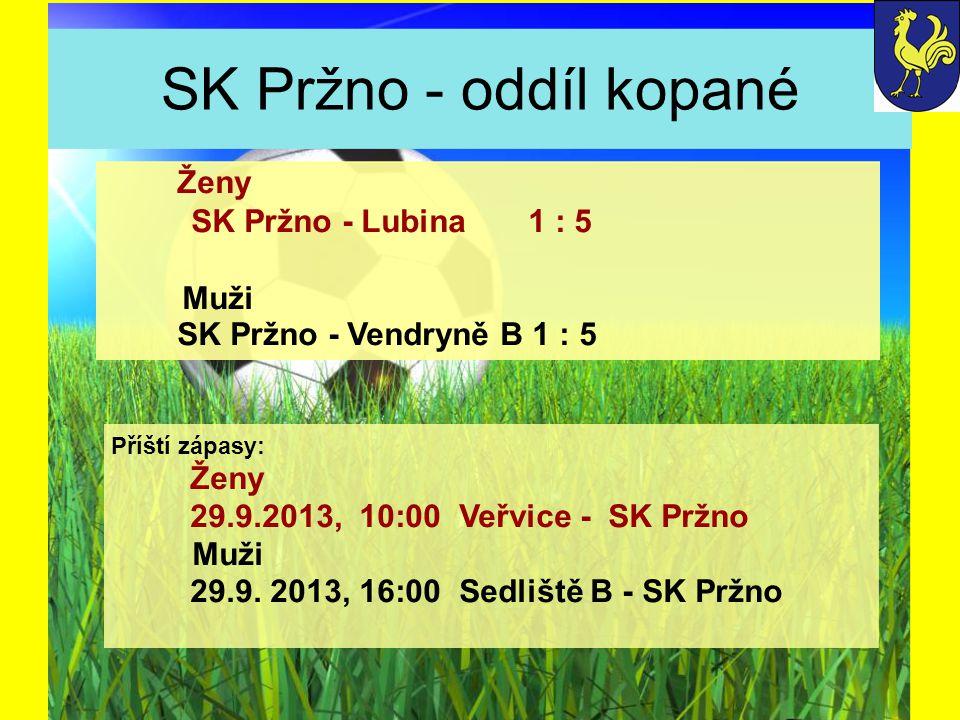SK Pržno - oddíl kopané Příští zápasy: Ženy 29.9.2013, 10:00 Veřvice - SK Pržno Muži 29.9. 2013, 16:00 Sedliště B - SK Pržno Ženy SK Pržno - Lubina1 :