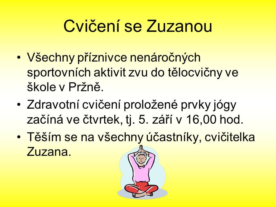 Cvičení se Zuzanou Všechny příznivce nenáročných sportovních aktivit zvu do tělocvičny ve škole v Pržně. Zdravotní cvičení proložené prvky jógy začíná