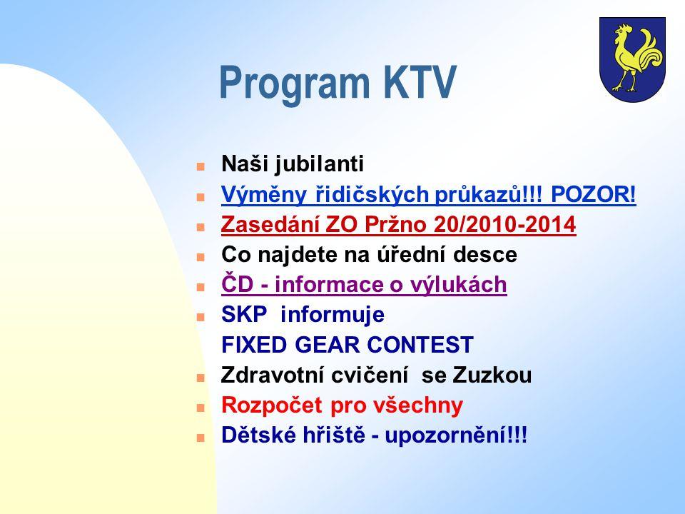 Program KTV Naši jubilanti Výměny řidičských průkazů!!! POZOR! Zasedání ZO Pržno 20/2010-2014 Co najdete na úřední desce ČD - informace o výlukách SKP