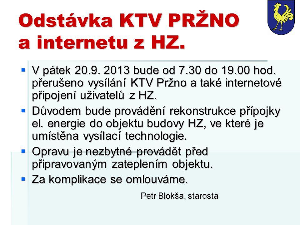Odstávka KTV PRŽNO a internetu z HZ.  V pátek 20.9. 2013 bude od 7.30 do 19.00 hod. přerušeno vysílání KTV Pržno a také internetové připojení uživate