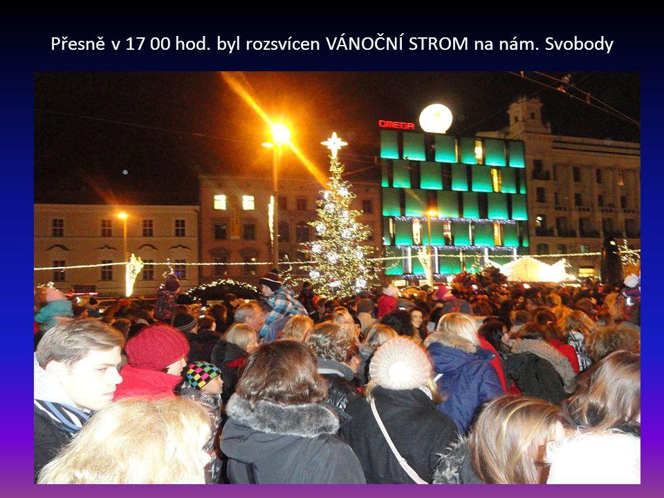 Účastníci sledující projevy zastupitelů města při slavnostním zahájení brněnských vánoc
