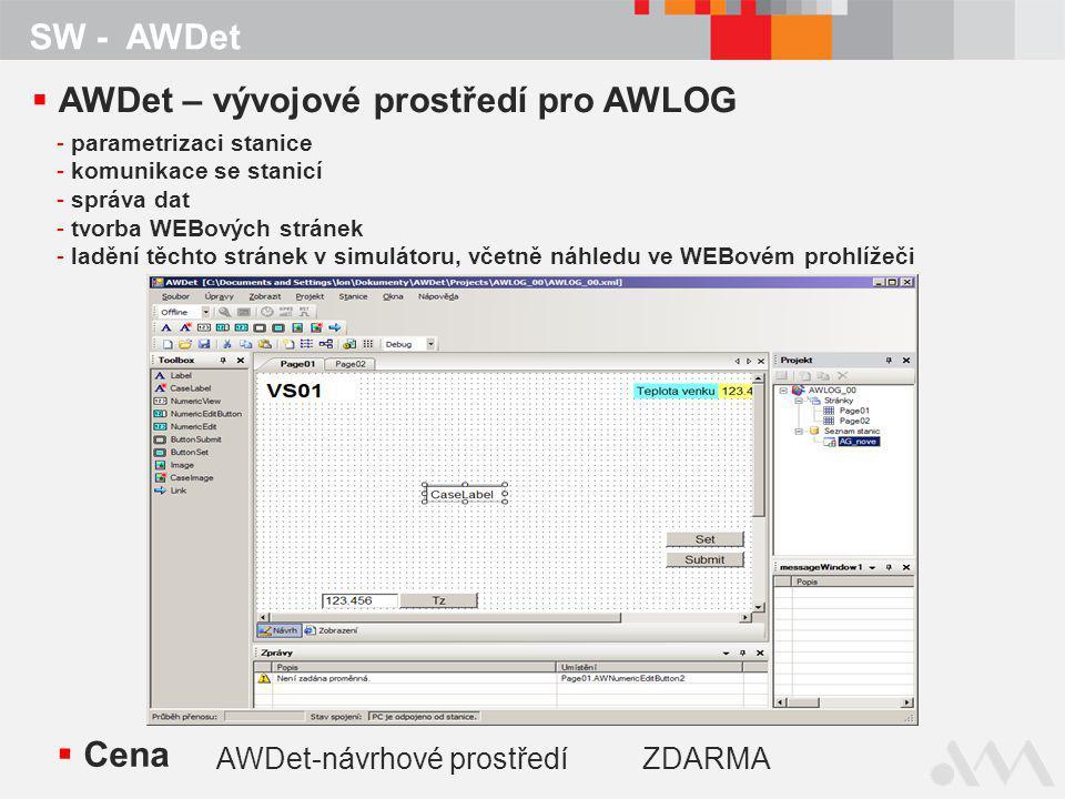 SW - AWDet  Cena AWDet-návrhové prostředíZDARMA  AWDet – vývojové prostředí pro AWLOG - parametrizaci stanice - komunikace se stanicí - správa dat - tvorba WEBových stránek - ladění těchto stránek v simulátoru, včetně náhledu ve WEBovém prohlížeči