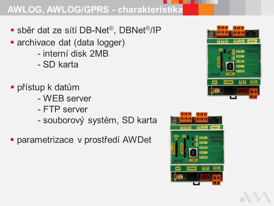 AWLOG, AWLOG/GPRS - charakteristika  sběr dat ze sítí DB-Net ®, DBNet ® /IP  archivace dat (data logger) - interní disk 2MB - SD karta  přístup k d