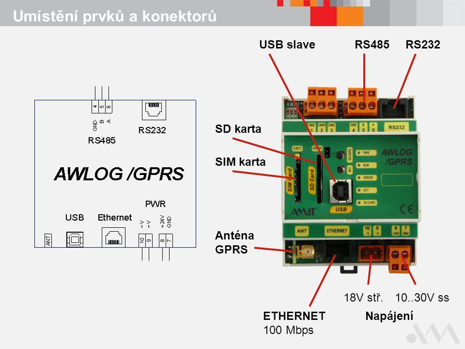 Umístění prvků a konektorů ETHERNET 100 Mbps RS232RS485 SD karta SIM karta Anténa GPRS Napájení 18V stř.10..30V ss USB slave