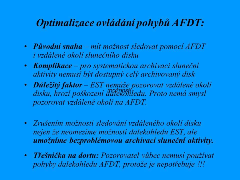 Optimalizace ovládání pohybů AFDT: Původní snaha – mít možnost sledovat pomocí AFDT i vzdálené okolí slunečního disku Komplikace – pro systematickou archivaci sluneční aktivity nemusí být dostupný celý archivovaný disk Důležitý faktor – EST nemůže pozorovat vzdálené okolí disku, hrozí poškození dalekohledu.