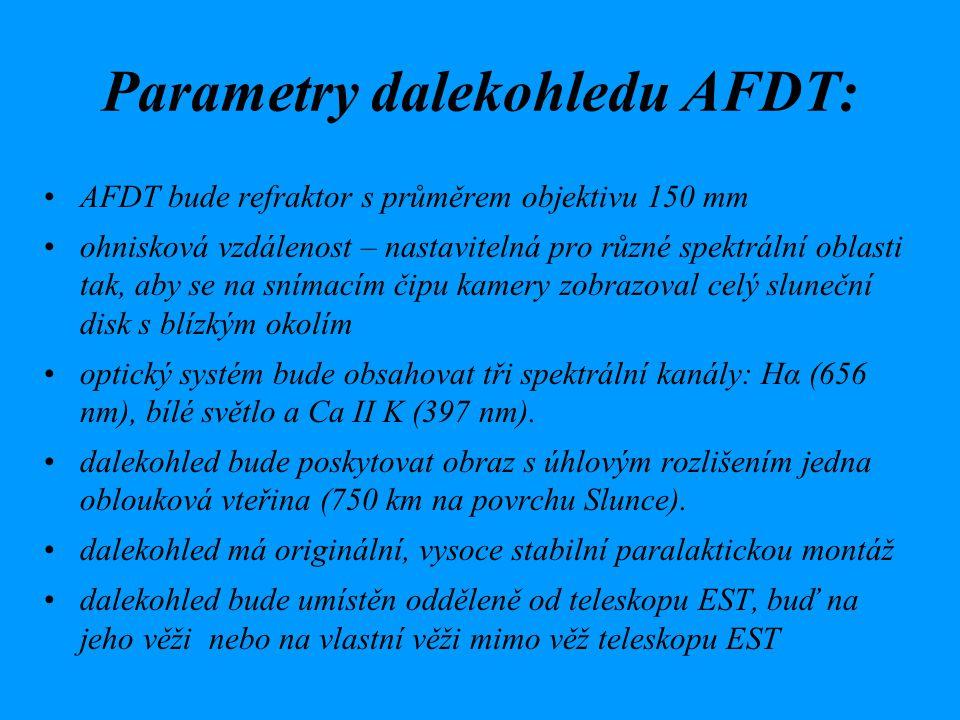 Parametry dalekohledu AFDT: AFDT bude refraktor s průměrem objektivu 150 mm ohnisková vzdálenost – nastavitelná pro různé spektrální oblasti tak, aby se na snímacím čipu kamery zobrazoval celý sluneční disk s blízkým okolím optický systém bude obsahovat tři spektrální kanály: Hα (656 nm), bílé světlo a Ca II K (397 nm).