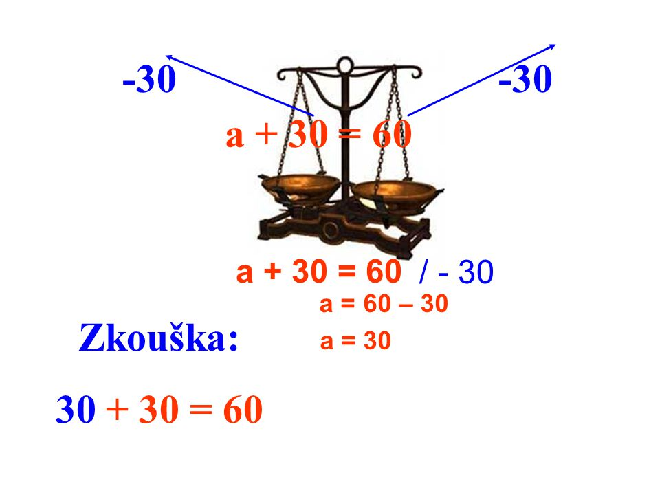 a + 30 = 60 a = 60 – 30 a = 30 a + 30 = 60 -30 / - 30 Zkouška: 30 + 30 = 60