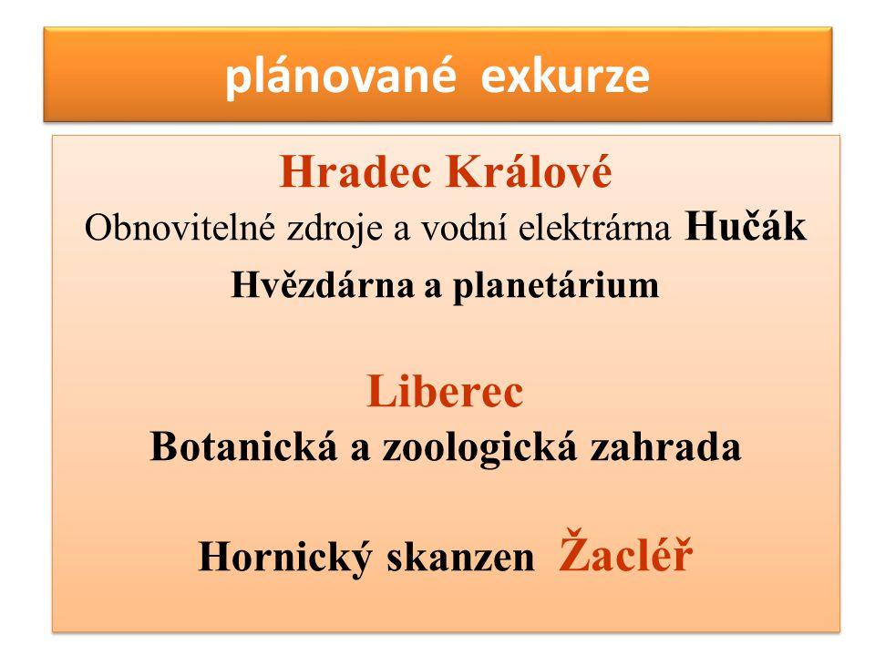 plánované exkurze Hradec Králové Obnovitelné zdroje a vodní elektrárna Hučák Hvězdárna a planetárium Liberec Botanická a zoologická zahrada Hornický s