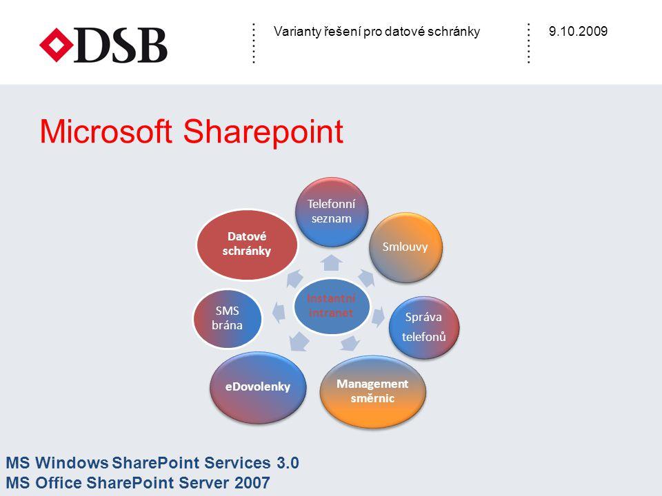 Varianty řešení pro datové schránky9.10.2009 Microsoft Sharepoint Instantní intranet Telefonní seznam Smlouvy Správa telefonů Management směrnic eDovolenky SMS brána Datové schránky MS Windows SharePoint Services 3.0 MS Office SharePoint Server 2007