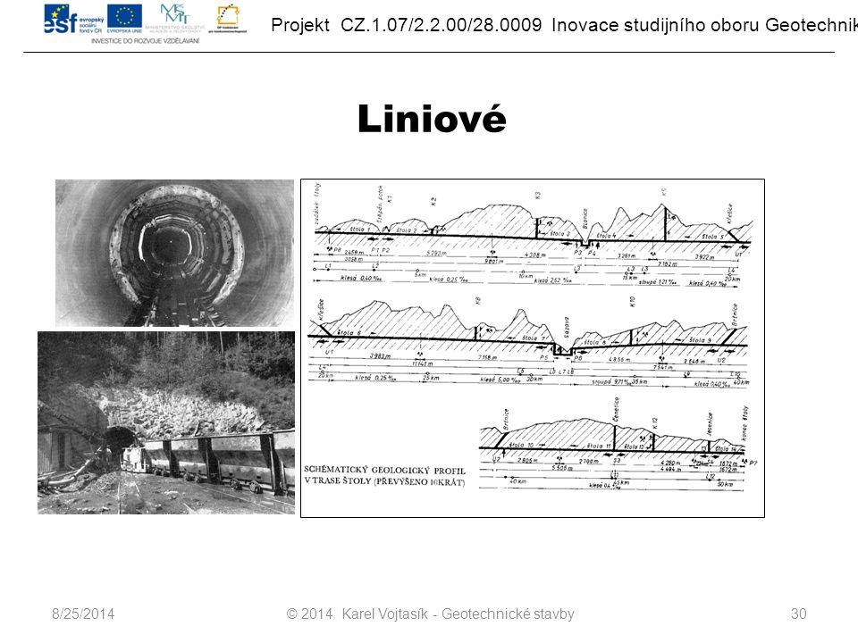 Projekt CZ.1.07/2.2.00/28.0009 Inovace studijního oboru Geotechnika Liniové © 2014 Karel Vojtasík - Geotechnické stavby308/25/2014