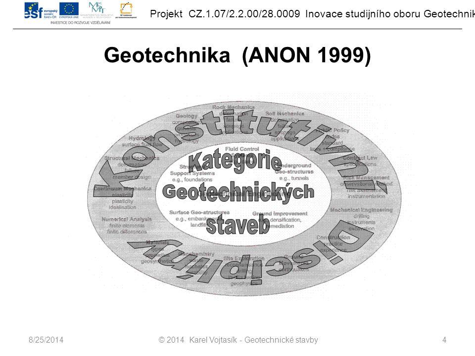 Projekt CZ.1.07/2.2.00/28.0009 Inovace studijního oboru Geotechnika Geotechnika (ANON 1999) © 2014 Karel Vojtasík - Geotechnické stavby48/25/2014