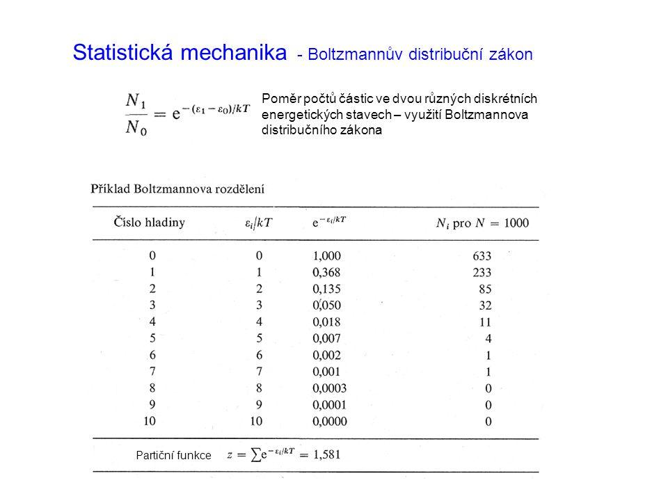 Statistická mechanika - Boltzmannův distribuční zákon Poměr počtů částic ve dvou různých diskrétních energetických stavech – využití Boltzmannova distribučního zákona Partiční funkce