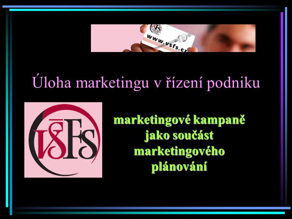 Úloha marketingu v řízení podniku marketingové kampaně jako součást marketingového plánování