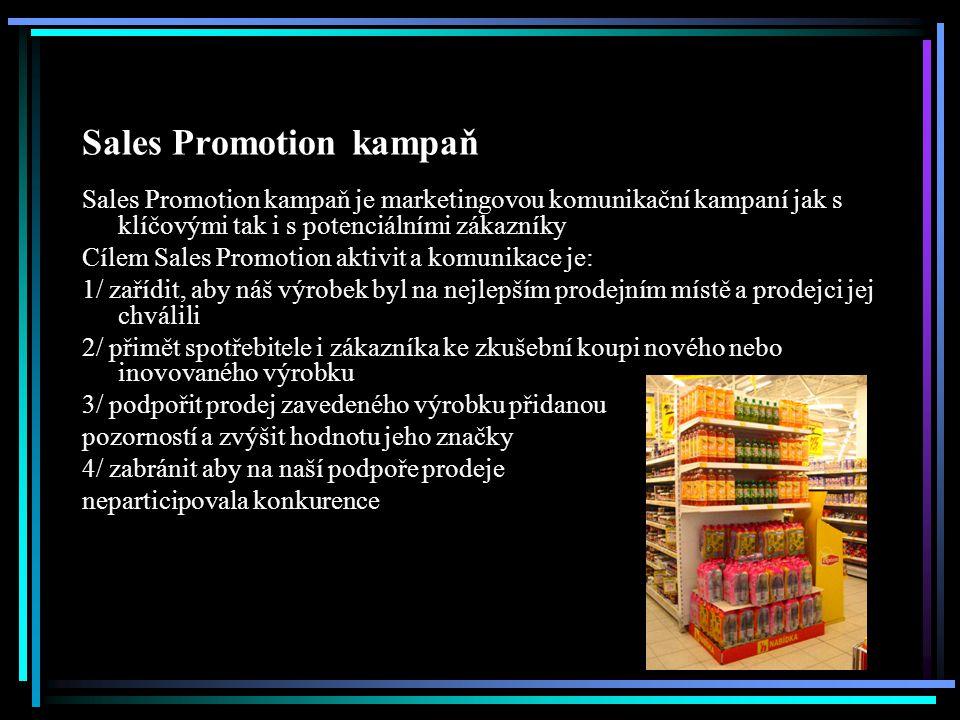 Sales Promotion kampaň Sales Promotion kampaň je marketingovou komunikační kampaní jak s klíčovými tak i s potenciálními zákazníky Cílem Sales Promoti