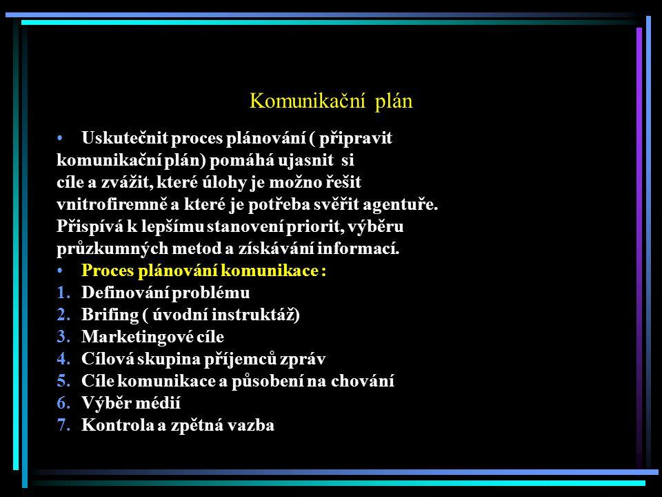 Komunikační plán Uskutečnit proces plánování ( připravit komunikační plán) pomáhá ujasnit si cíle a zvážit, které úlohy je možno řešit vnitrofiremně a