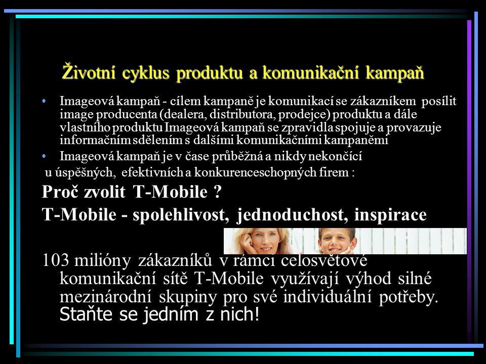 Životní cyklus produktu a komunikační kampaň Imageová kampaň - cílem kampaně je komunikací se zákazníkem posílit image producenta (dealera, distributo